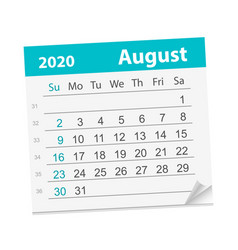 Calendar sheet for month august 2020 vector