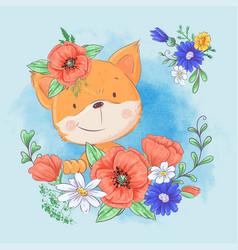 Cartoon cute fox in a wreath red poppies and vector