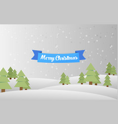 Christmas landscape background with snow and tree vector