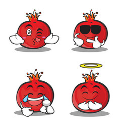collection set pomegranate cartoon character style vector image