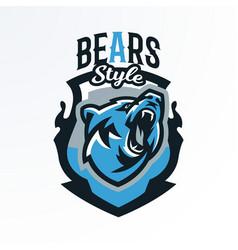 Colorful emblem badge log of a growling bear vector