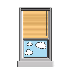 Colorful window with curtain blind open and clouds vector