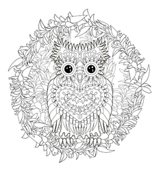 Coloring page with the owl vector