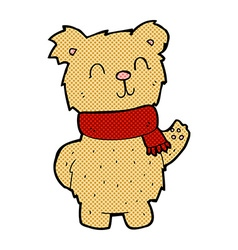 comic cartoon waving teddy bear vector image