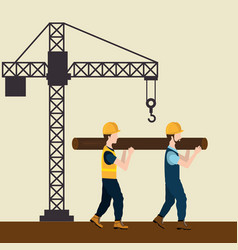 Construction workers with under construction icons vector