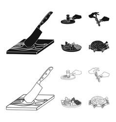 Cutlass on a cutting board hammer for chops vector