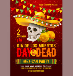 day dead or dia de los muertos celebration vector image