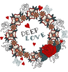 Deep love floral design vector