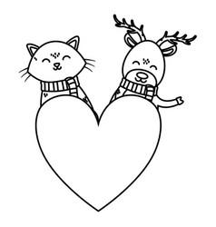Deer and cat love heart celebration merry vector