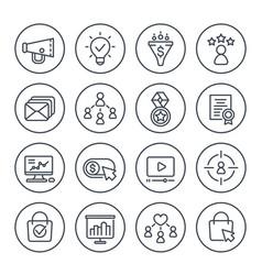 Digital marketing icons on white line set vector