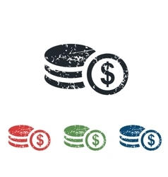 Dollar rouleau grunge icon set vector
