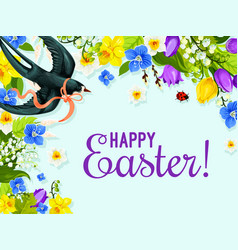 Easter spring flower and bird greeting card design vector