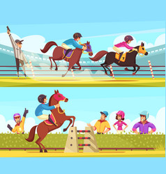 equestrian horizontal banners set vector image