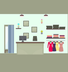 Fashionable female clothes store interior design vector