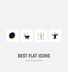 flat icon halloween set of candlestick magic vector image