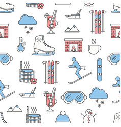 flat line art winter seamless pattern vector image