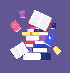 flying books book pile library literature vector image