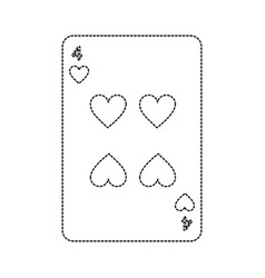 Four of hearts french playing cards related icon vector