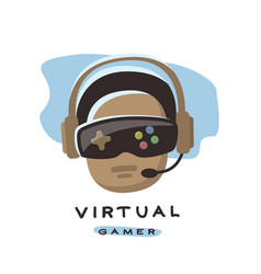 Gamer is playing in 3d virtual reality vector