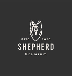 german shepherd dog hipster vintage logo icon vector image