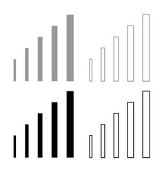 Growth chart icon set grey black color vector