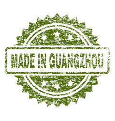 Grunge textured made in guangzhou stamp seal vector