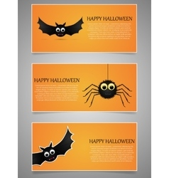 Halloween banner set with flying bat and spider vector image
