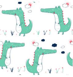 hand drawing crocodile seamless pattern vector image