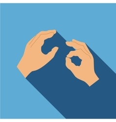 Hand sign language icon flat style vector image