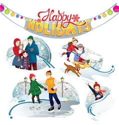 Happy holidays set vector