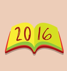 Happy new year 2016 open the book vector