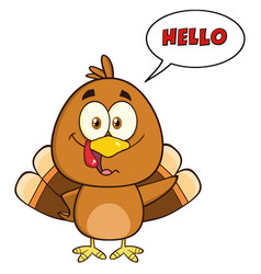 happy turkey bird cartoon character waving vector image