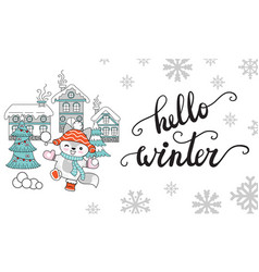 horizontal christmas card fox hello winter vector image