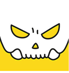 human evil skull smile on yellow background vector image