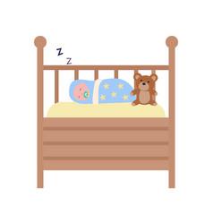 Infant sleeping in wooden cot childhood vector