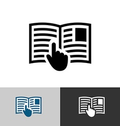 Instruction manual icon Open book pages with text vector