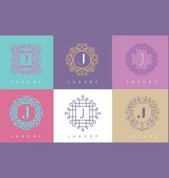 J letter pastel floral monogram lines logo design vector