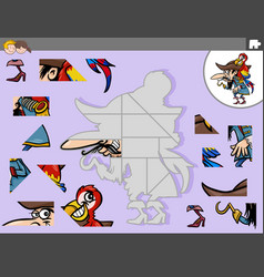 jigsaw puzzle game with pirate and parrot fantasy vector image