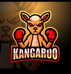 Kangaroo boxer mascot esport logo design vector