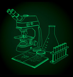 Laboratory microscope and test tubes for vector