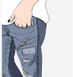 Legs jeans with a broken around vector