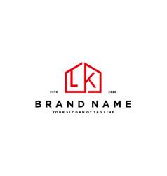 Letter lk home logo design concept vector