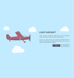 light aircraft closeup of airplane in color banner vector image