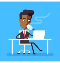 Man sitting at desk with laptop and hot beverage vector image