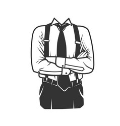 mans profile with a folded arms vector image