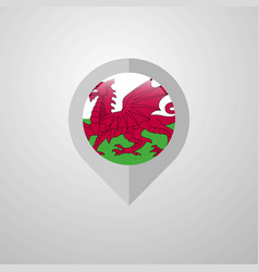 Map navigation pointer with wales flag design vector
