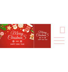 merry christmas card happy new year postcard vector image