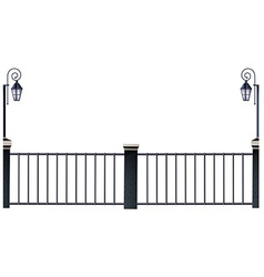 Metal fence and lampposts vector