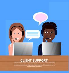 Mix race diverse call center headset agent client vector