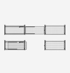 Modern automatic metal gates set vector